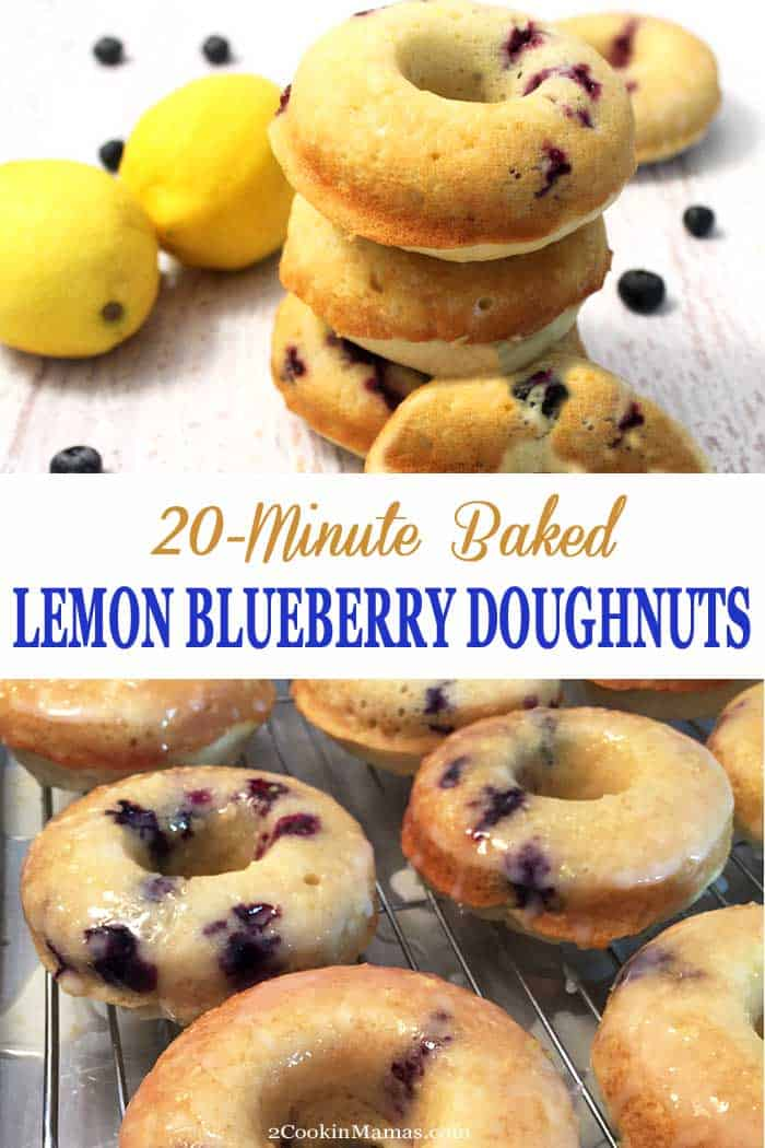 Lemon Blueberry Doughnuts | 2 Cookin Mamas  Start your day with easy & delicious, baked (not fried) lemon blueberry doughnuts. Moist & full of tasty blueberries then covered in sweet lemon glaze. #doughnuts #lemondoughnuts #blueberrydoughnuts #donuts #breakfast
