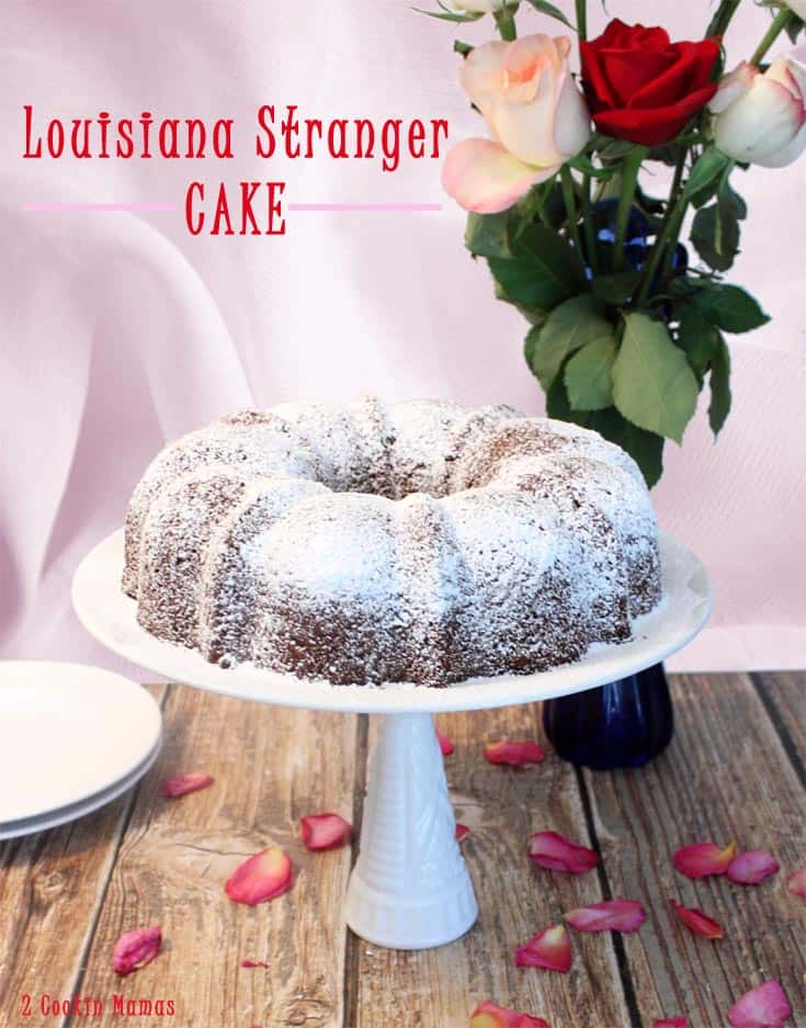 Louisiana Stranger Cake pin   2 Cookin Mamas A moist & delicious cake that's so easy to make. Start with a boxed cake mix and a can of frosting, add a few eggs and dessert is on the table. #recipe