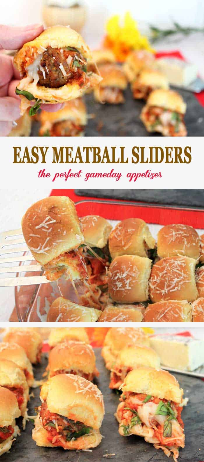 Meatball Sliders pin | 2 Cookin Mamas Easy Meatball Sliders, meatballs, smothered in sauce and cheese, and sandwiched in the perfect sized bun, are the perfect gameday appetizer or quick meal. Easy to make, starting with prepackaged ingredients, these beauties can be on your table in less than 15 minutes! #gameday #appetizer #sliders #recipe #meatballs #easyrecipe #quickandeasy