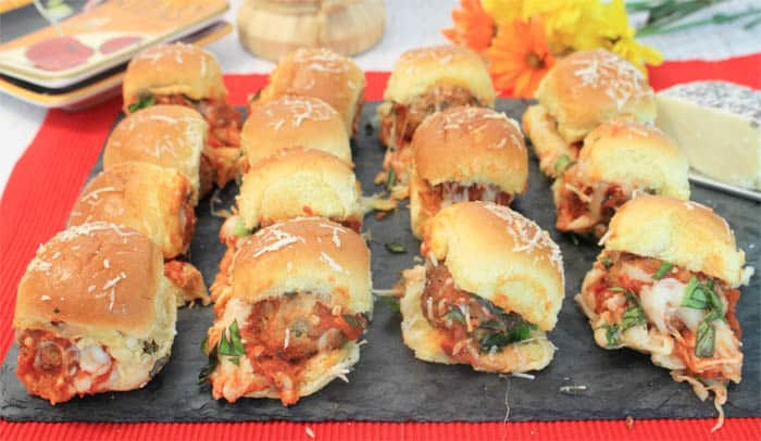 Meatball Sliders tray | 2 Cookin Mamas