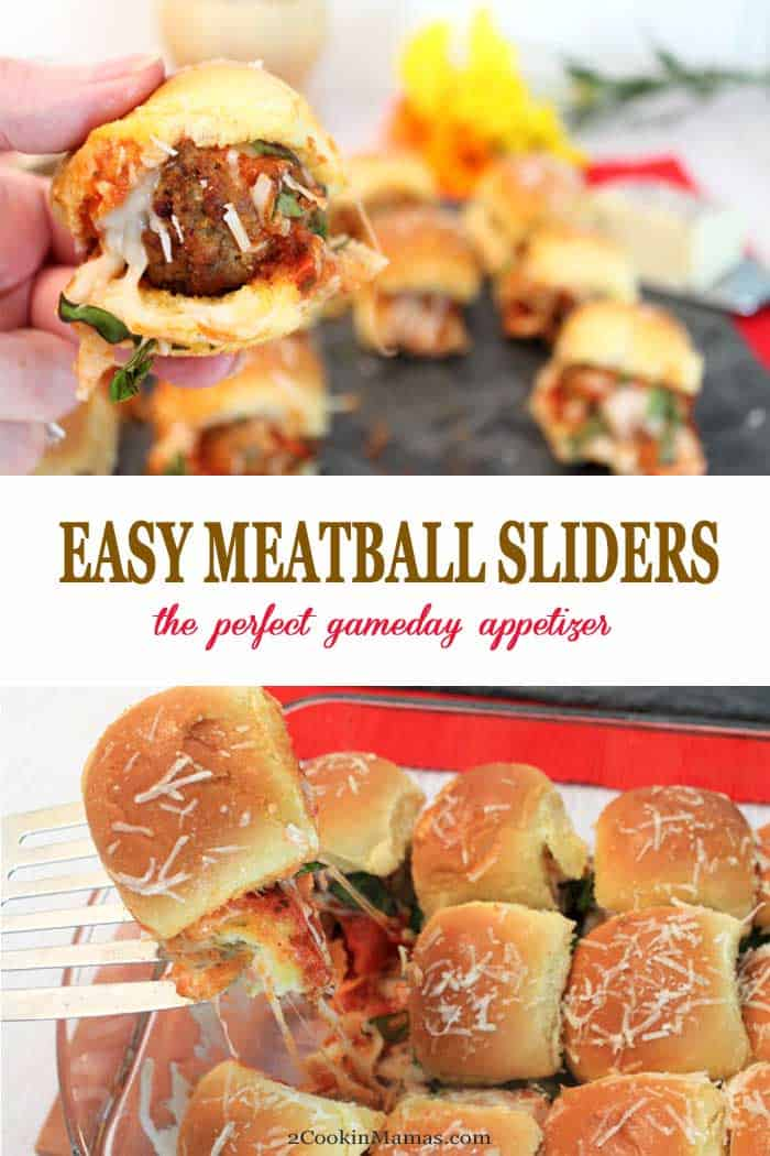 Meatball Sliders | 2 Cookin Mamas Easy Meatball Sliders, meatballs, smothered in sauce and cheese, and sandwiched in the perfect sized bun, are the perfect gameday appetizer or quick meal. Easy to make, starting with prepackaged ingredients, these beauties can be on your table in less than 15 minutes! #gameday #appetizer #sliders #recipe #meatballs #easyrecipe #quickandeasy