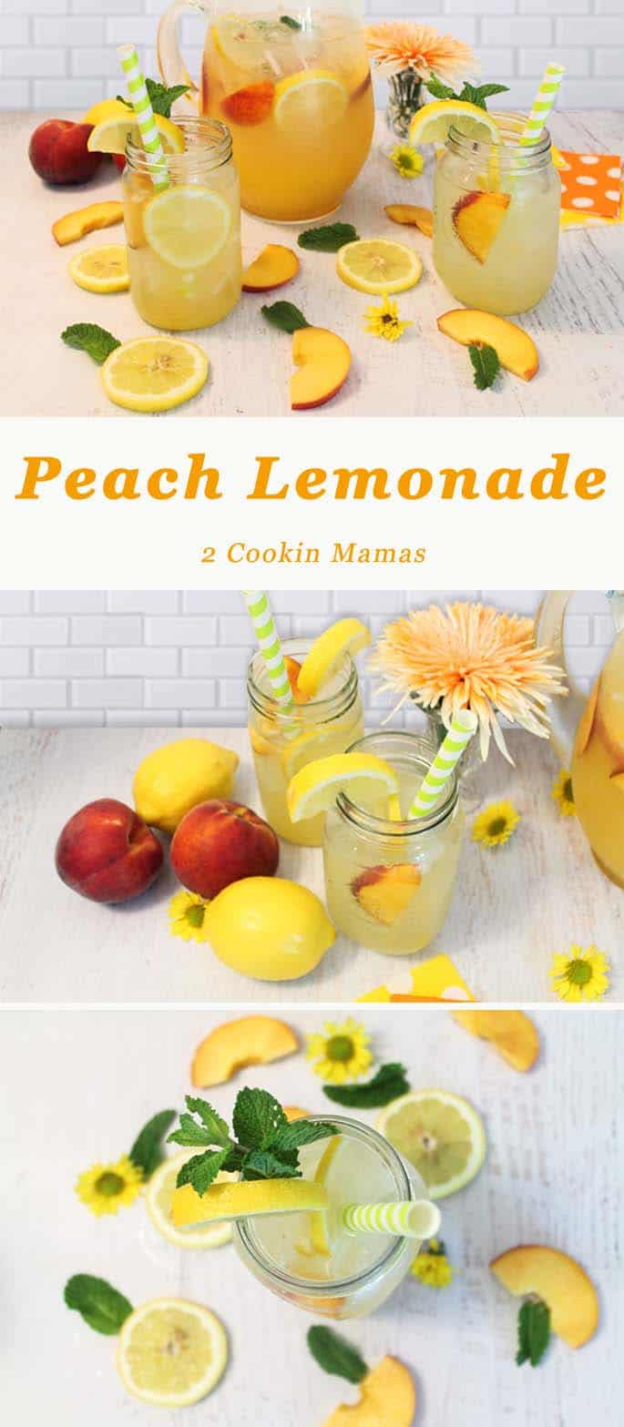 Peach Lemonade   2 Cookin Mamas Fresh & fruity, this refreshing lemonade is all you need to beat the summertime heat. #recipe