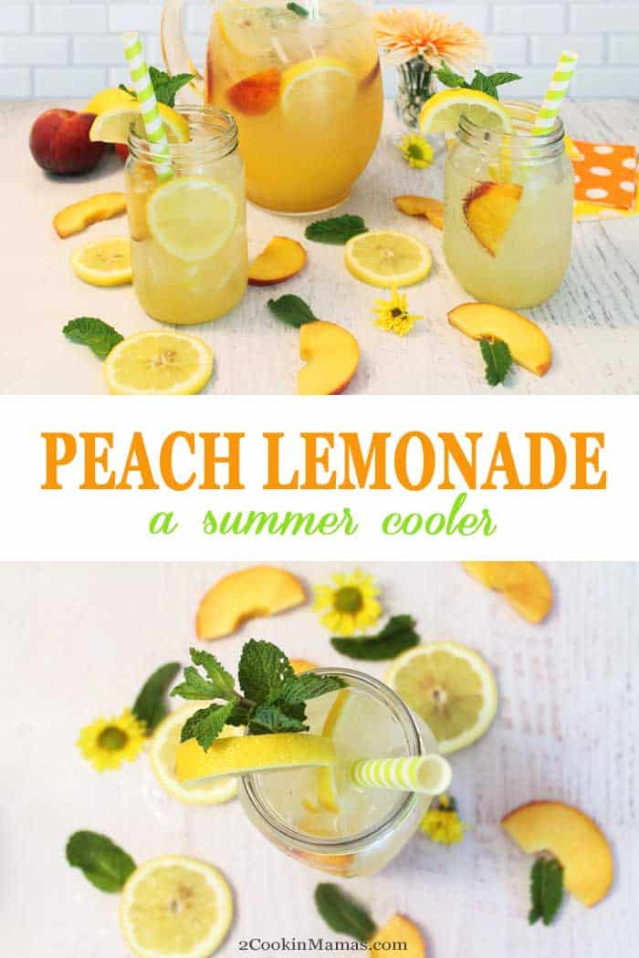 Peach Lemonade | 2 Cookin Mamas Bring your lemonade up a notch by adding peach syrup & ripe peaches to the mix. Nothing quenches your thirst on a hot summer day more than our peach lemonade. #summerdrink #summerbeverage #lemonade #peaches #recipe