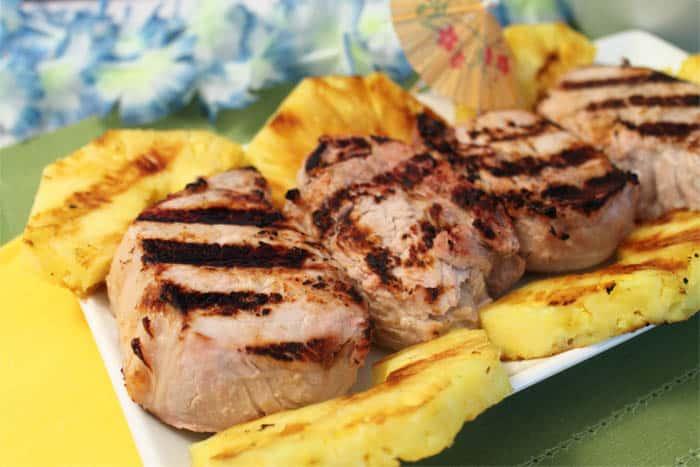 Pina Colada Grilled Pork Chops closeup | 2 Cookin Mamas