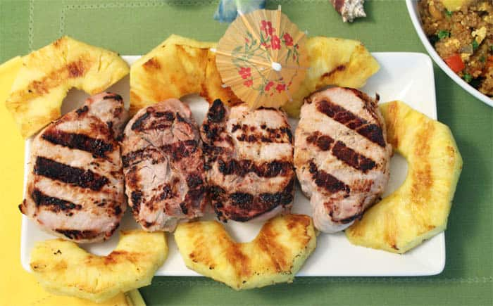 Pina Colada Grilled Pork Chops overhead | 2 Cookin Mamas