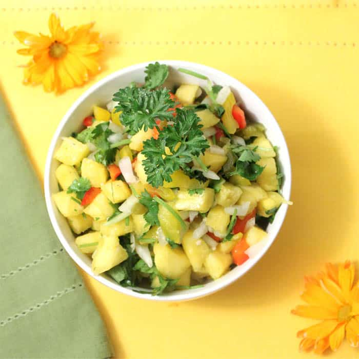 Pineapple Salsa in white bowl overhead