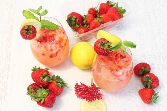 Strawberry Lemonade Cocktail overhead | 2 Cookin Mamas