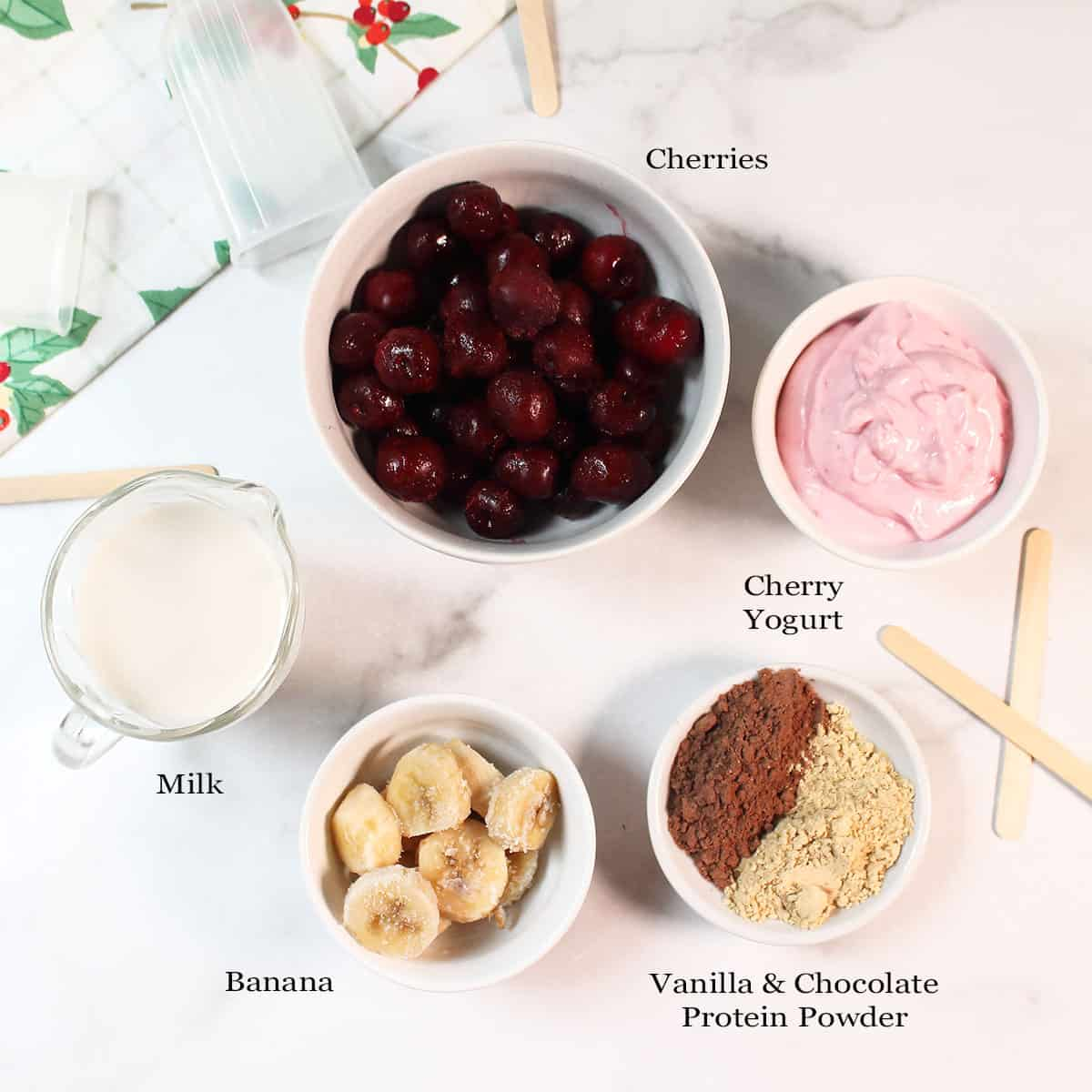 Cherry Chocolate Smoothie Popsicles ingredients.