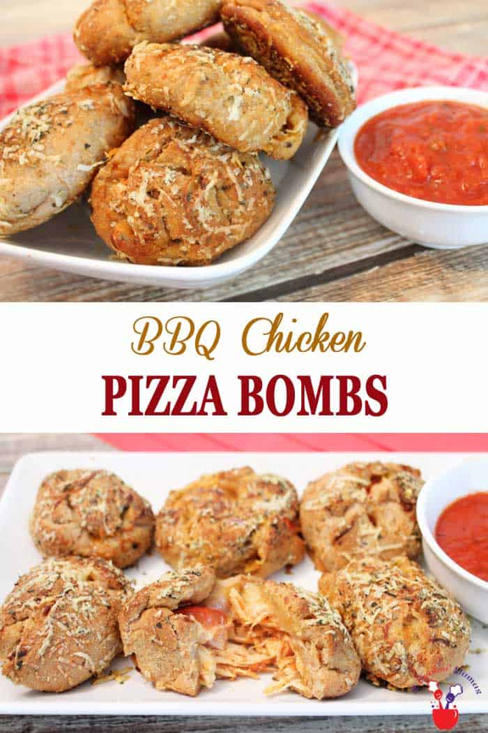 BBQ Chicken Pizza Bombs | 2 Cookin Mamas BBQ Chicken Pizza Bombs make a quick & easy appetizer or weeknight dinner. Pizza dough stuffed with BBQ chicken, veggies, cheese & rolled into a ball. Yum! #recipe #dinner #appetizers #chicken #BBQchicken