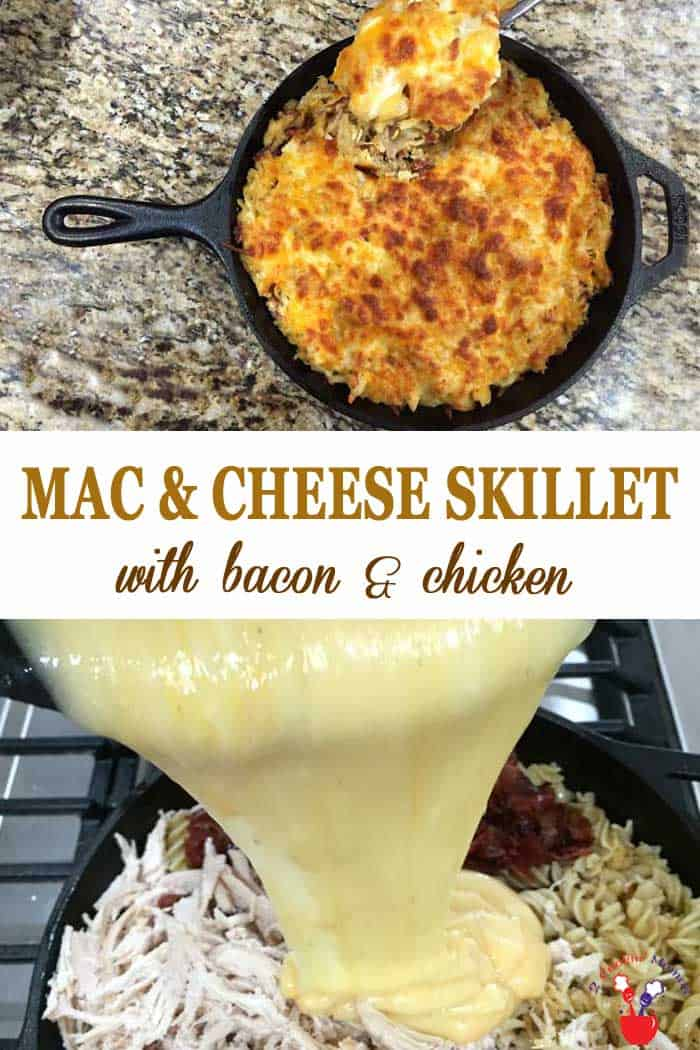 Bacon Mac and Cheese Skillet with Chicken | 2 Cookin Mamas A delicious kicked up version of everyone's favorite. Bacon Mac and Cheese Skillet is made easy with rotisserie chicken & pre-shredded cheese. Easy fix, easy clean up! #recipe #dinner #macandcheese #bacon #chicken