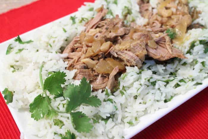 Crockpot Cuban Pork with Cilantro Lime Rice - 2 Cookin' Mamas