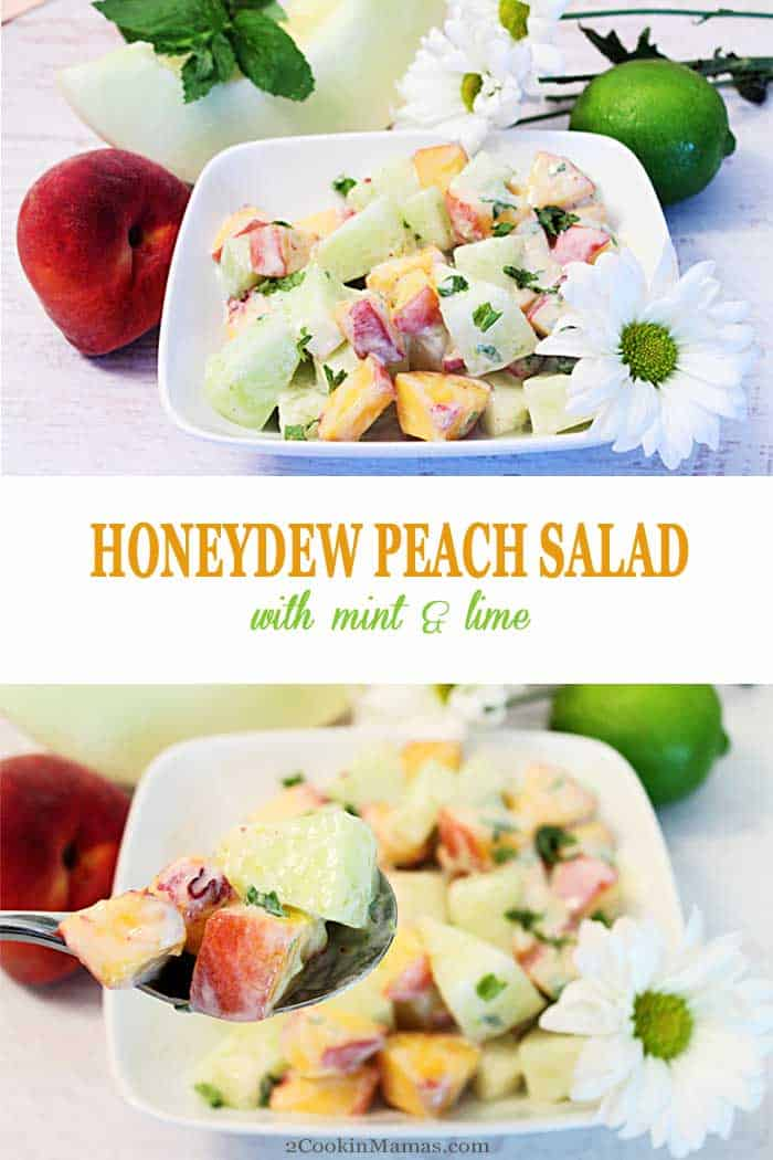 Honeydew Peach Salad   2 Cookin Mamas This Honeydew Peach Salad is easy to make, smooth & creamy. Mix with your favorite stone fruit, sweeten with condensed milk & add a touch of mint. Perfect! #fruitsalad #honeydew #peaches #summersalad #salad #recipe #mint
