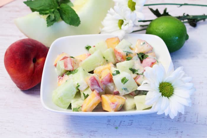 Honeydew Peach Salad 4 | 2 Cookin Mamas