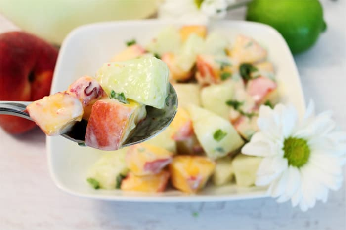 Honeydew Peach Salad bite | 2 Cookin Mamas