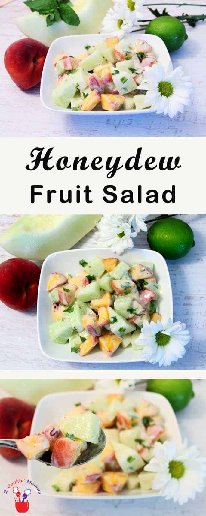 Honeydew Fruit Salad | 2 Cookin Mamas A smooth & creamy fruit salad with peak of the season honeydew and peaches with a touch of mint.