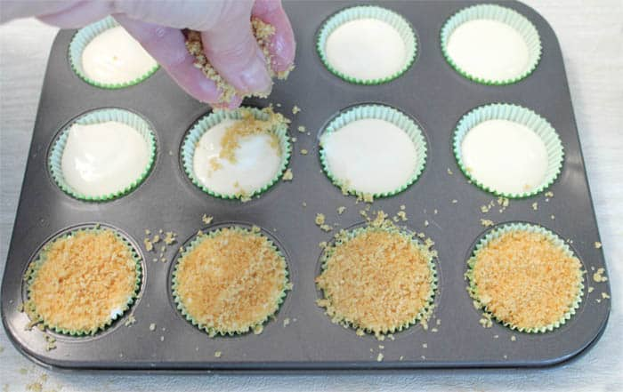 Topping lime filling with graham cracker crumbs.