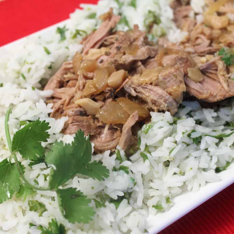Crockpot Cuban Pork with Cilantro Lime Rice