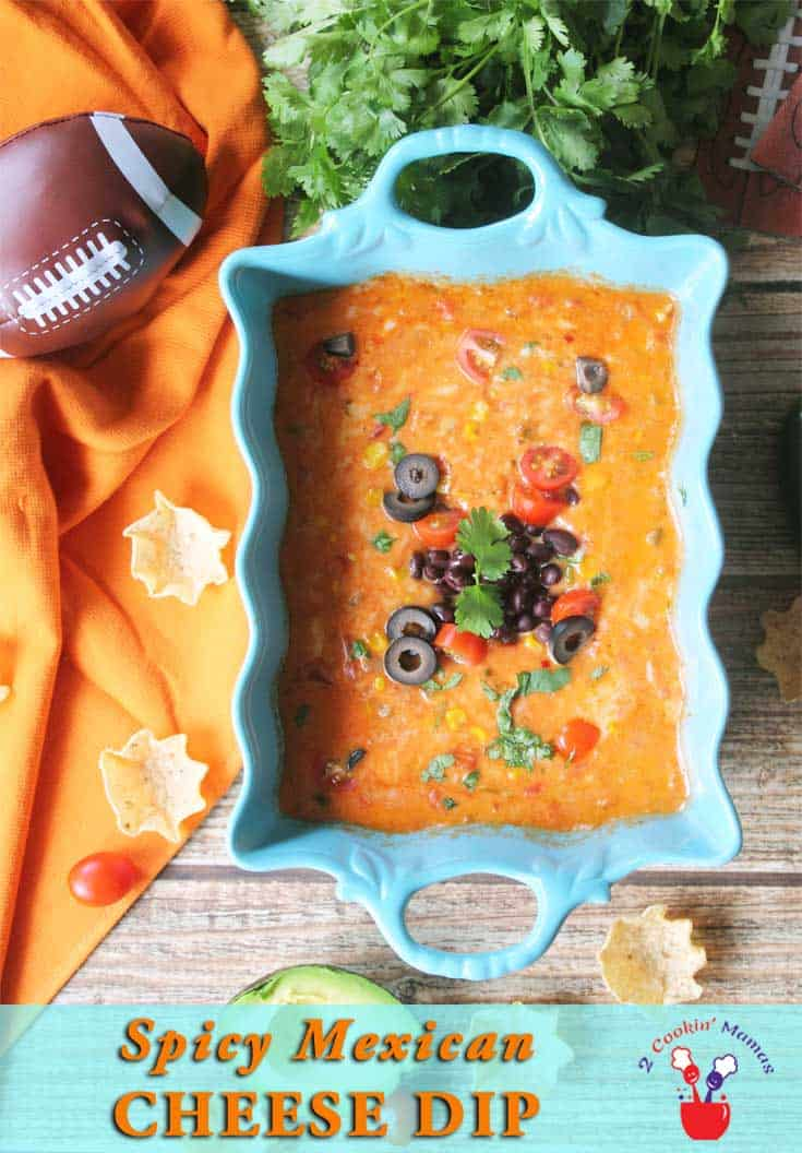 Spicy Mexican Cheese Dip | 2 Cookin Mamas An easy cheesy Mexican Cheese Dip that is the perfect appetizer for tailgating. Just 4 basic ingredients & you've got an awesome dip! #recipe