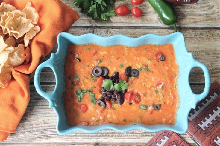 Spicy Mexican Cheese Dip overhead | 2 Cookin Mamas