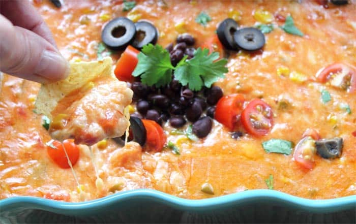 Spicy Mexican Cheese Dip scoop | 2 Cookin Mamas