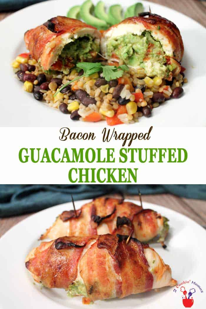 Bacon Wrapped Guacamole Stuffed Chicken | 2 Cookin Mamas Guacamole stuffed chicken breasts are wrapped around one of everyone's favorite dips, guacamole. Add a little bacon, 'cause everything's better with bacon, for a quick & easy meal that will wow your guests. #dinner #chicken #guacamole #bacon #recipe