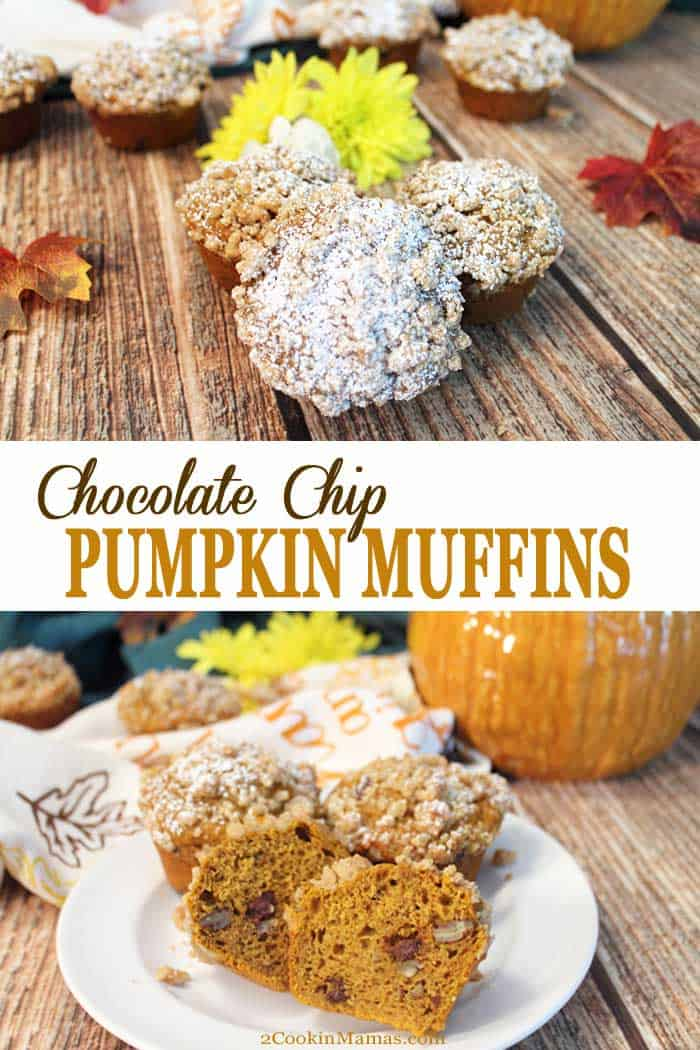 Chocolate Chip Pumpkin Muffins with Streusel Topping