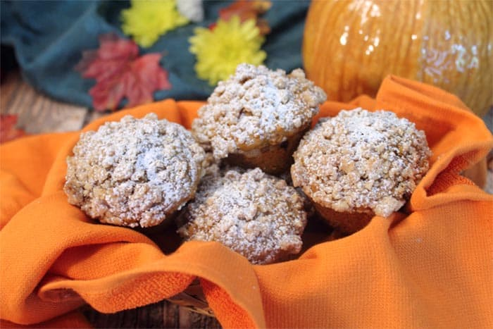 chocolate-chip-pumpkin-muffins-in-basket | 2 Cookin Mamas