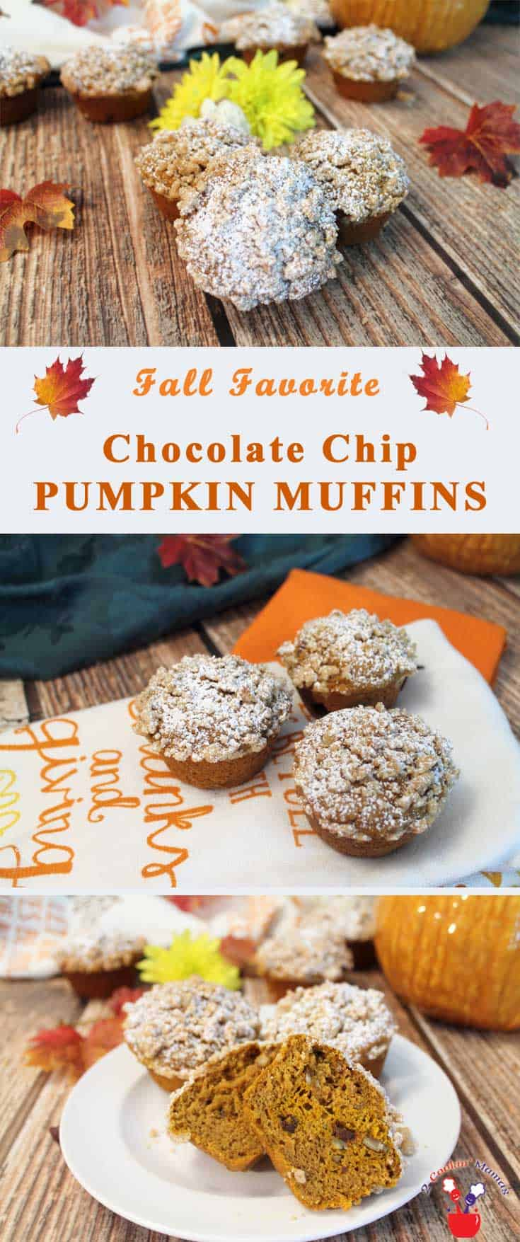 chocolate-chip-pumpkin-muffins-main | 2 Cookin Mamas Nothing says fall like these chocolate chip pumpkin muffins! They are moist, delicious and full of pumpkin flavor with loads of crumbs sprinkled on top. They are even a bit healthier than the norm with less sugar less oil and the addition of dark chocolate chips, nuts and Greek yogurt. #recipe
