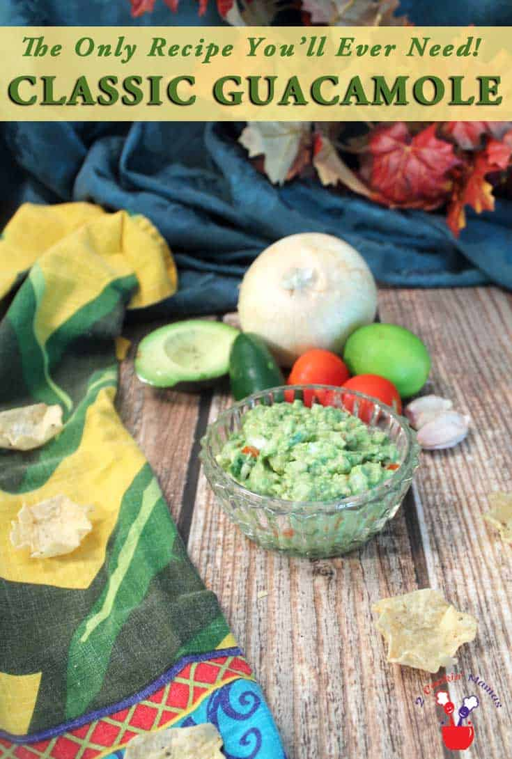 Classic Guacamole pin | 2 Cookin Mamas The only recipe you'll ever need for a deliciously fresh, flavorful & delicious guacamole. So easy & perfect for any occasion. #recipe #appetizer #avocados