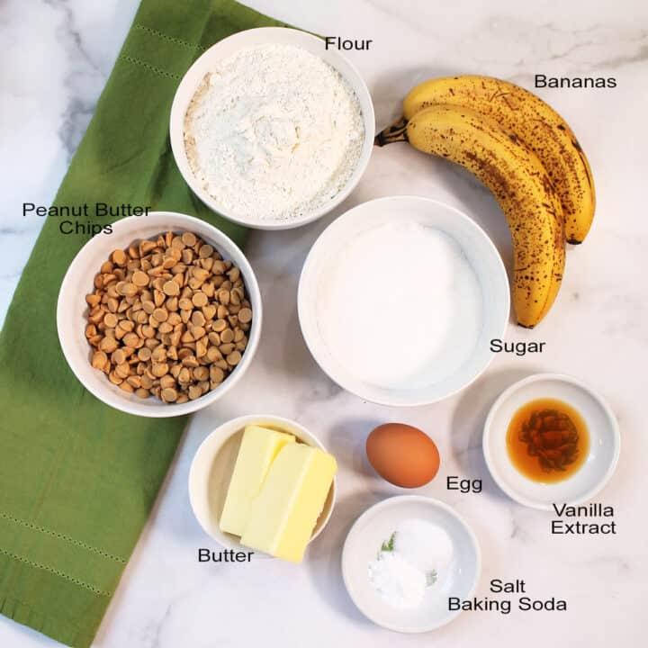 Ingredients for banana cookies.