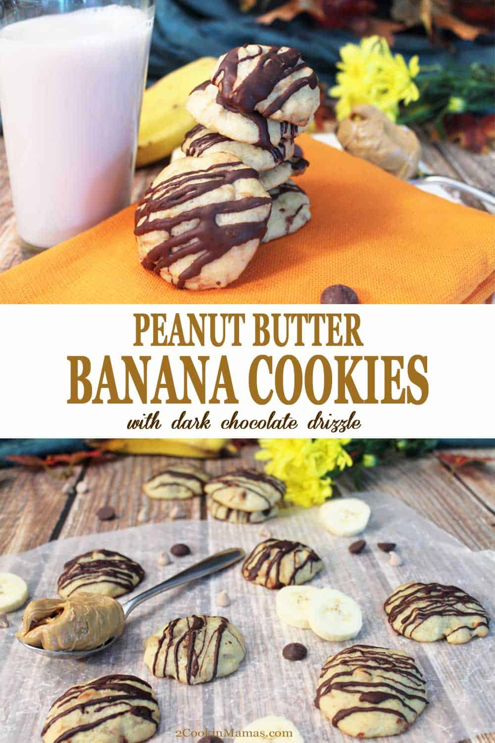 Peanut Butter Banana Cookies | 2 Cookin Mamas These Peanut Butter Banana Cookies take the combo of peanut butter & banana to a whole new level! Chewy banana bread-like cookies are stuffed with peanut butter chips then drizzled with dark chocolate. Yum! #cookies #bananas #peanutbutter #recipe #chocolate