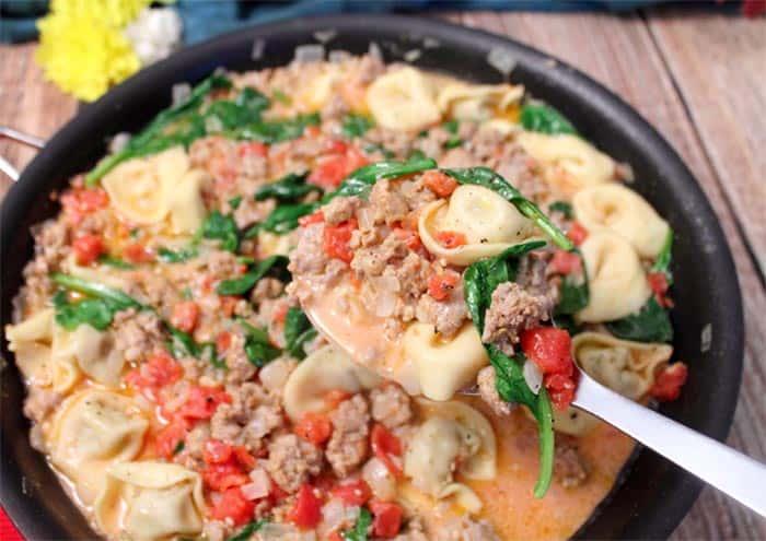 Italian Sausage Tortellini Skillet | 2 Cookin Mamas