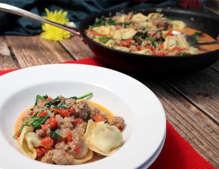 Italian Sausage Tortellini Skillet served | 2 Cookin Mamas