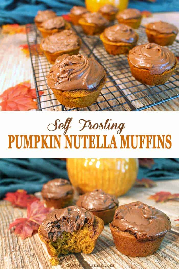 Self Frosting Pumpkin Nutella Muffins | 2 Cookin Mamas Amazing Pumpkin Nutella Muffins frost themselves as they bake! Rich pumpkin pie flavor & topped with an instant Nutella frosting, they're a mouthful of yum! #muffins #nutellafrosting #recipe #fall #pumpkin #nutella