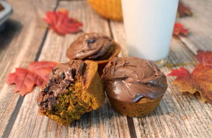 Self Frosting Pumpkin Nutella Muffins bite | 2 Cookin Mamas