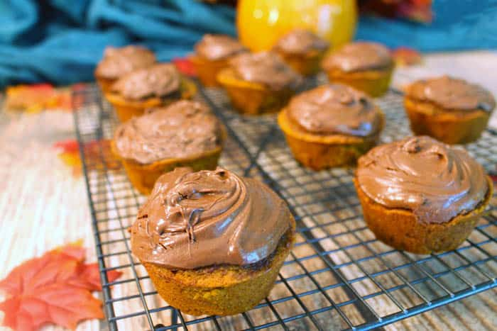 Self Frosting Pumpkin Nutella Muffins cooling | 2 Cookin Mamas
