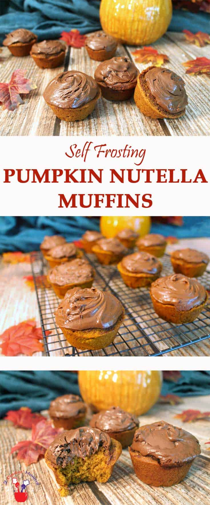 Self Frosting Pumpkin Nutella Muffins | 2 Cookin Mamas Moist pumpkin pie flavored muffins that are super easy to make and are baked with the Nutella frosting already on them! #recipe #dessert
