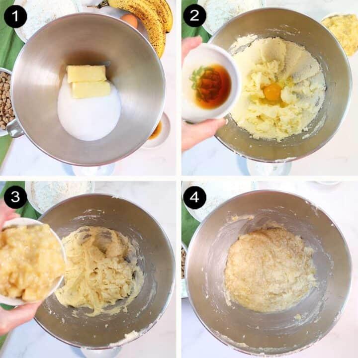 Steps 1-4 to making banana cookie dough..