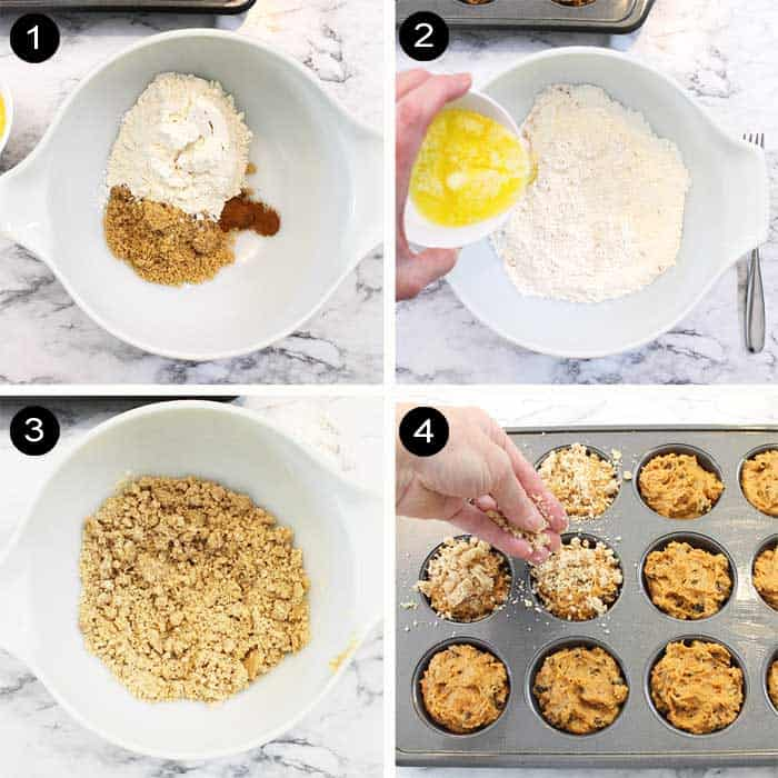 Steps to make crumb topping.