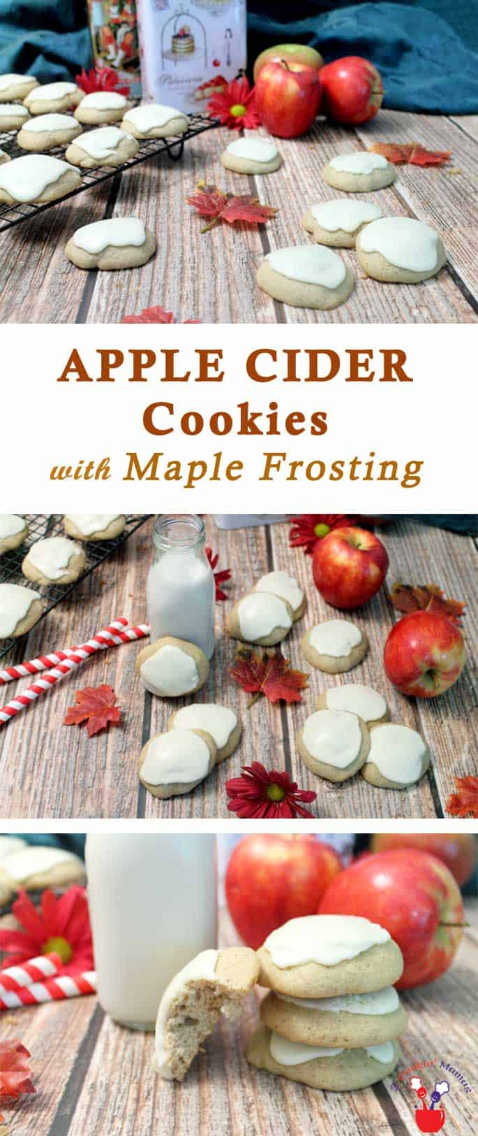 Apple Cider Cookies | 2 Cookin Mamas These cookies fit the season perfectly. They're a soft, cakey cookie, with loads of spiced apple flavor & topped with a delicious maple frosting. #recipe