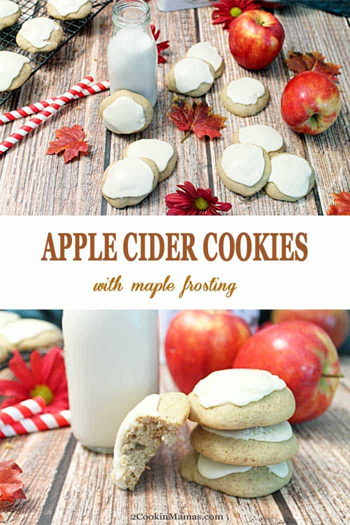 These apple cider cookies fit the season perfectly. They are a soft, cakey cookie, with loads of spiced apple flavor & topped with delicious maple frosting. #fallcookies #applecider #maplefrosting #cookies #recipe
