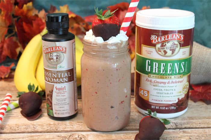 Chocolate Covered Strawberry Smoothie with Barleans | 2 Cookin Mamas