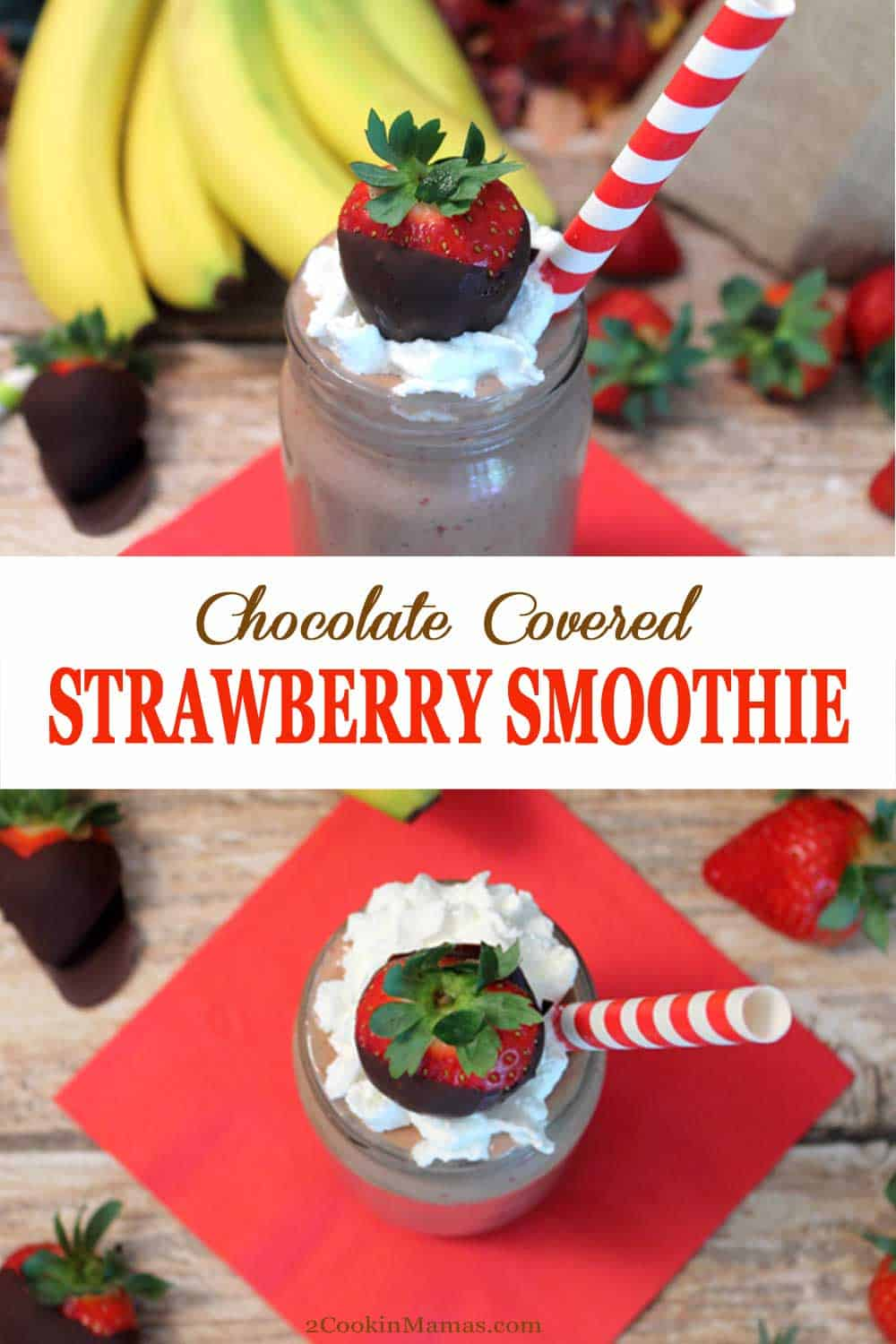 Get energized & stay healthy with this Chocolate Covered Strawberry Smoothie. An antioxidant-packed mix of greens, fruits & vegetables that tastes like you\'re eating chocolate covered strawberries.  #smoothie #strawberries #healthy #chocolate #breakfast #recipe