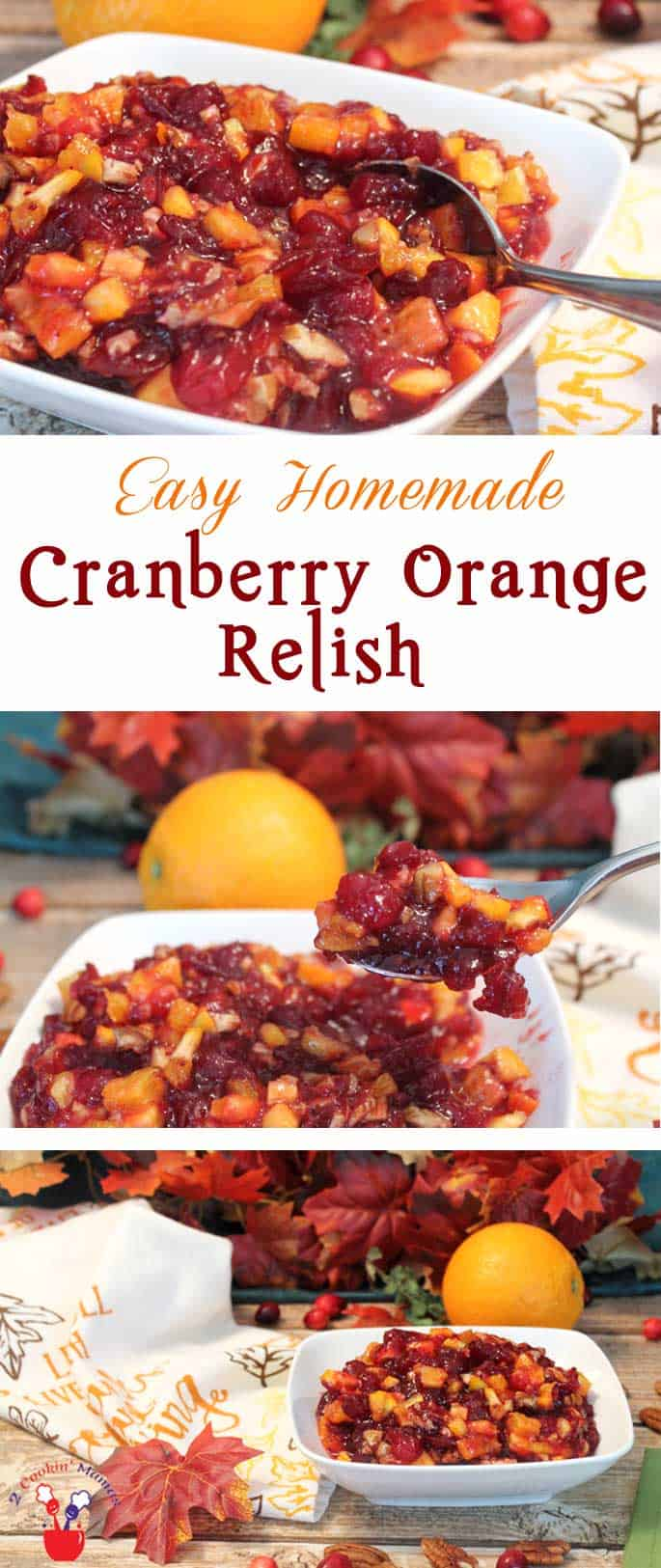 Fresh, tart, homemade cranberry orange relish is easy to make & the perfect side dish to serve with your holiday turkey. #relish #cranberryrelish #cranberry #sidedish #Thanksgiving #Thanksgivingside