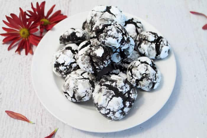 Double Chocolate Crinkle Cookies plateful | 2 Cookin Mamas