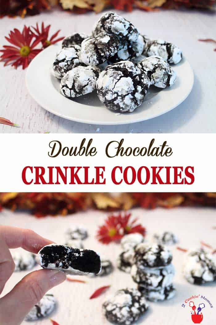 Double Chocolate Crinkle Cookies | 2 Cookin Mamas Double Chocolate Crinkle Cookies bring all the taste of rich dark chocolate with the added benefit of an antioxidant blast. No one will be the wiser that you've snuck a few fruits & veggies into these sweet, fudgy, chocolaty cookies. #christmascookies #chocolate #baking #recipe #cookies