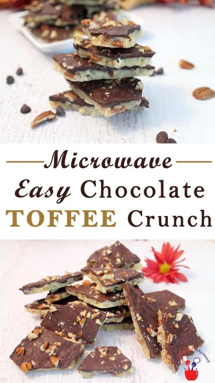 Easy Chocolate Toffee Crunch | 2 Cookin Mamas A microwave makes this Chocolate Toffee Crunch so easy. Buttery toffee is topped with chocolate & sprinkled with sea salt for a sweet & salty treat. #recipe