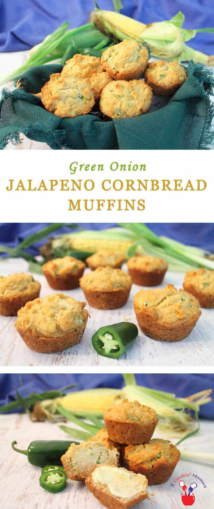 Green Onion Jalapeno Cornbread Muffins | 2 Cookin Mamas Green Onion Jalapeno Cornbread Muffins will add a little zing to your meal without being too spicy. The addition of buttermilk & honey makes them moist, delicious & balances out the heat perfectly. #recipe