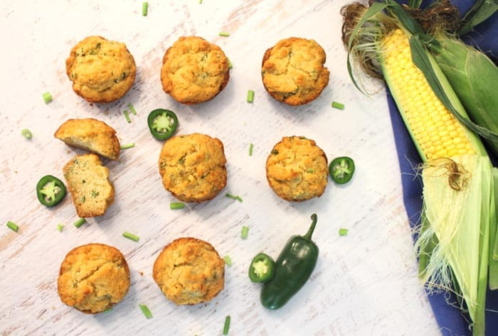 Green Onion Jalapeno Cornbread Muffins overhead | 2 Cookin Mamas