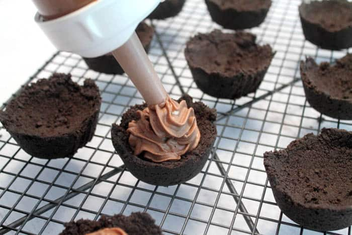 Mocha Cheesecake Cookie Cups fill | 2 Cookin Mamas